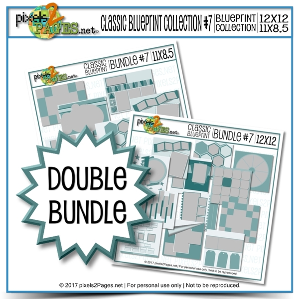 Double Bundle - Classic Blueprint Collection #7 Digital Art - Digital Scrapbooking Kits