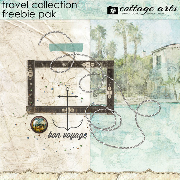 Travel Collection Freebie Pak Digital Art - Digital Scrapbooking Kits