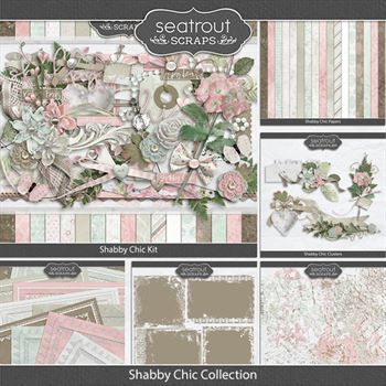 Shabby Chic Discounted Bundle Digital Art - Digital Scrapbooking Kits