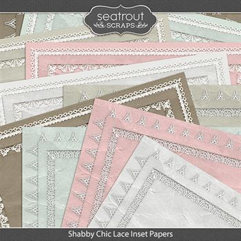 Shabby Chic Lace Inset Papers Digital Art - Digital Scrapbooking Kits