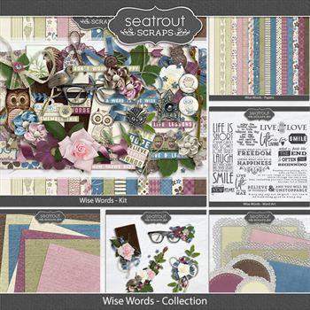 Wise Words Discounted Bundle Digital Art - Digital Scrapbooking Kits
