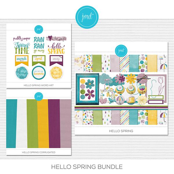 Hello Spring Bundle Digital Art - Digital Scrapbooking Kits