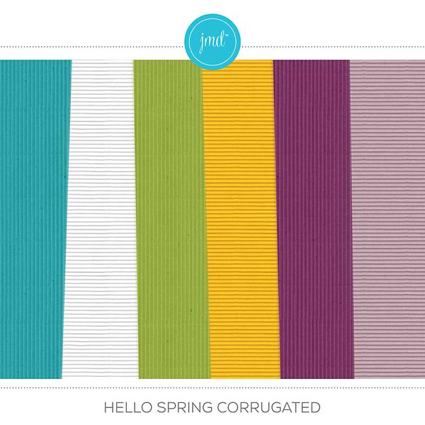 Hello Spring Corrugated Digital Art - Digital Scrapbooking Kits
