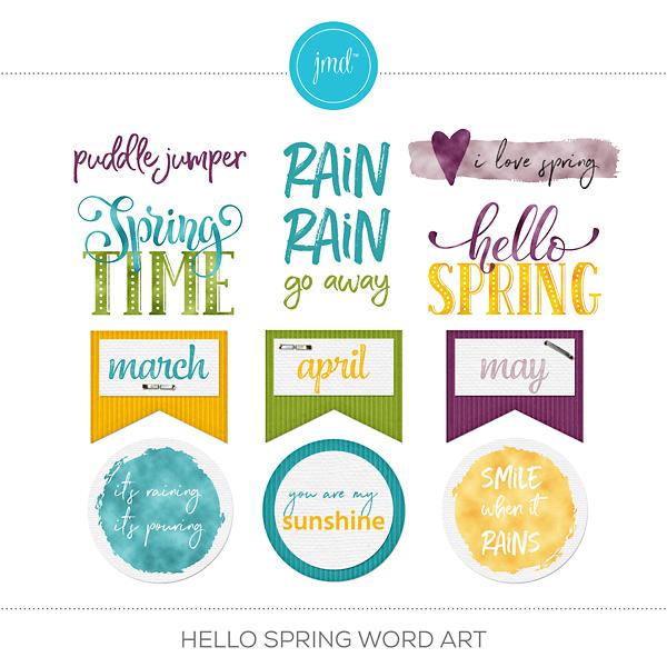 Hello Spring Word Art Digital Art - Digital Scrapbooking Kits