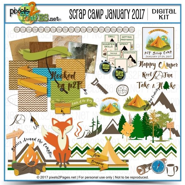 Scrap Camp January 2017 Digital Art - Digital Scrapbooking Kits