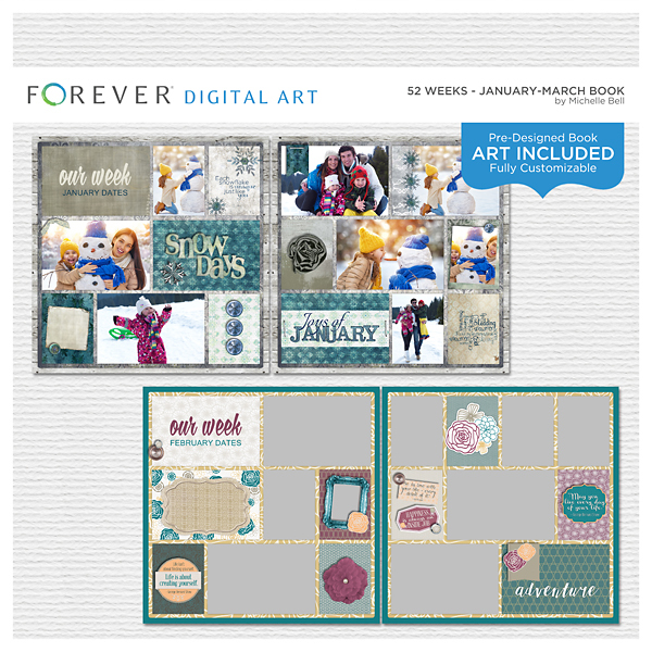 52 Weeks - January-March Book Digital Art - Digital Scrapbooking Kits