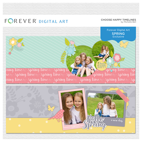 Choose Happy Timelines Digital Art - Digital Scrapbooking Kits