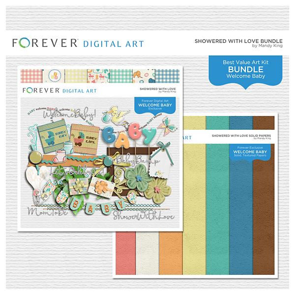 Showered With Love Bundle Digital Art - Digital Scrapbooking Kits