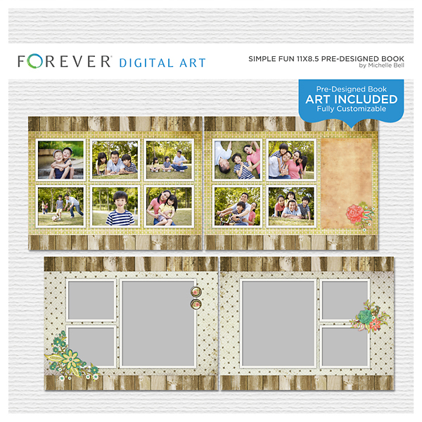 Simple Fun 11x8.5 Predesigned Book Digital Art - Digital Scrapbooking Kits