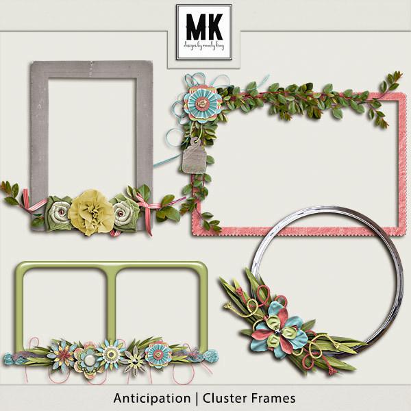 Anticipation Cluster Frames Digital Art - Digital Scrapbooking Kits