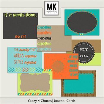 Crazy 4 Chores - Journal Cards Digital Art - Digital Scrapbooking Kits