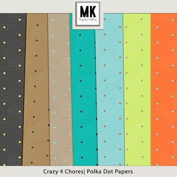 Crazy 4 Chores - Dotted Papers Digital Art - Digital Scrapbooking Kits