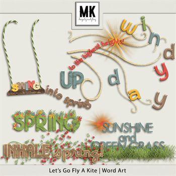 Let's Go Fly A Kite Word Art Digital Art - Digital Scrapbooking Kits