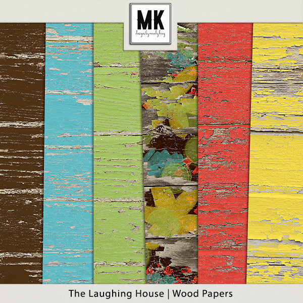 The Laughing House - Wood Papers Digital Art - Digital Scrapbooking Kits