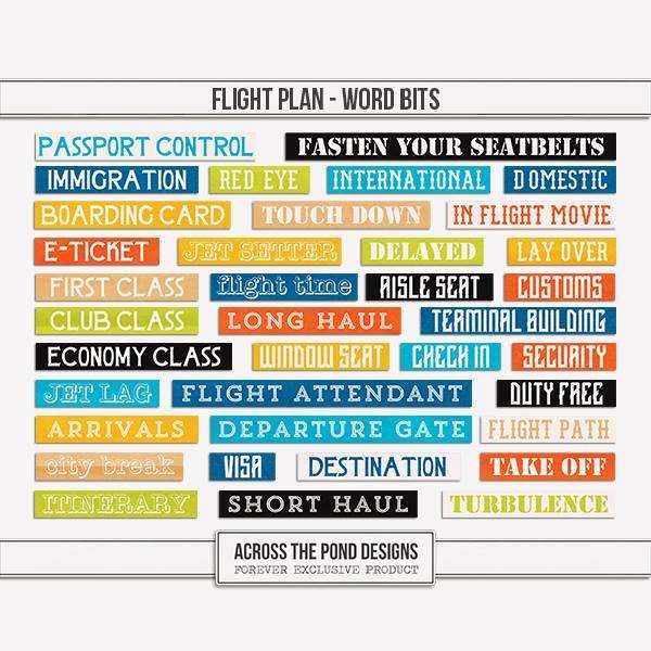 Flight Plan - Word Bits Digital Art - Digital Scrapbooking Kits