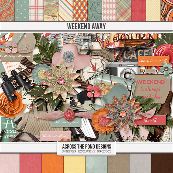 Weekend Away Page Kit Digital Art - Digital Scrapbooking Kits