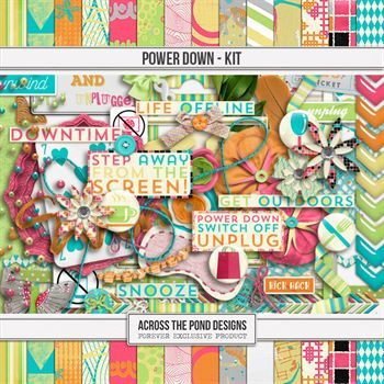 Power Down - Page Kit Digital Art - Digital Scrapbooking Kits