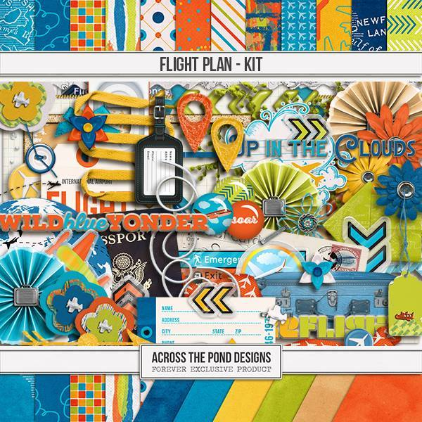 Flight Plan - Page Kit Digital Art - Digital Scrapbooking Kits