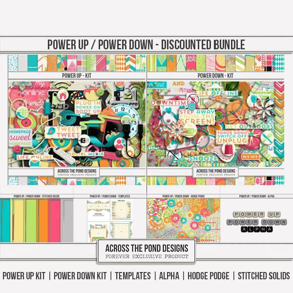 Power Up & Power Down - Discounted Bundle Digital Art - Digital Scrapbooking Kits