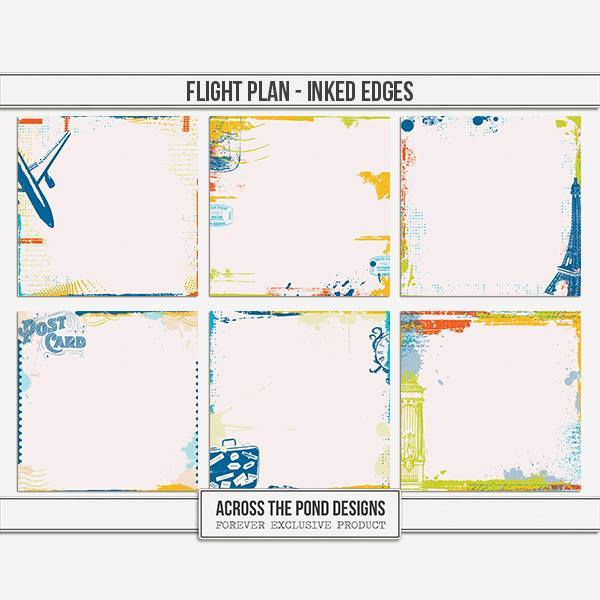 Flight Plan - Inked Edge Papers Digital Art - Digital Scrapbooking Kits