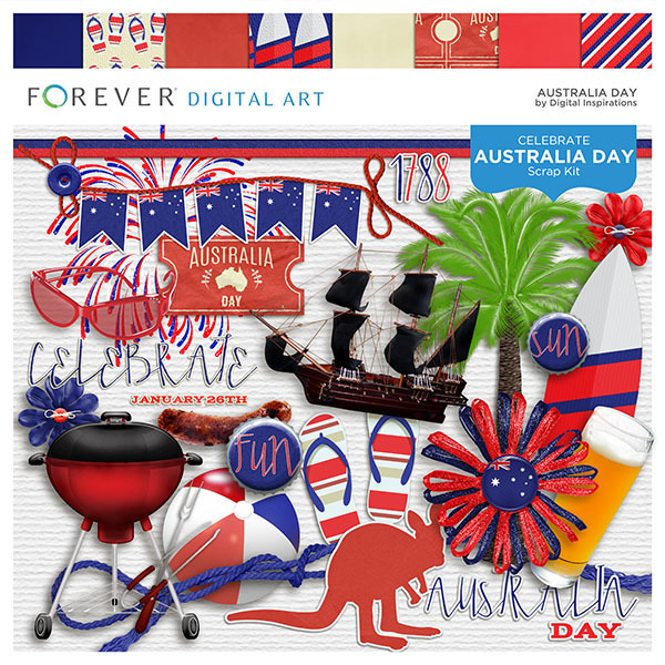 Australia Day Kit Digital Art - Digital Scrapbooking Kits