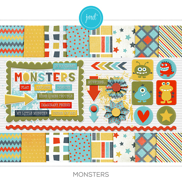 Monsters Digital Art - Digital Scrapbooking Kits