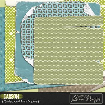 Carson Torn And Curled Papers Digital Art - Digital Scrapbooking Kits
