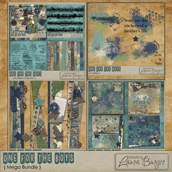 One For The Boys Mega Bundle Digital Art - Digital Scrapbooking Kits