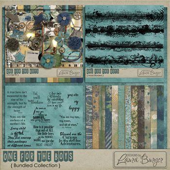 One For The Boys Bundle Digital Art - Digital Scrapbooking Kits