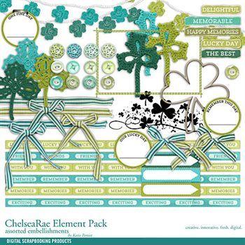 Chelsearae Element Pack Digital Art - Digital Scrapbooking Kits