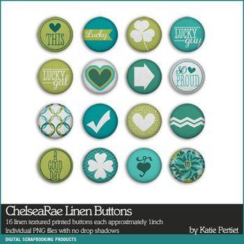 Chelsearae Linen Buttons Digital Art - Digital Scrapbooking Kits