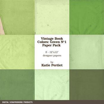 Vintage Book Colors Greens Paper Pack Digital Art - Digital Scrapbooking Kits