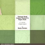 Vintage Book Colors Greens Paper Pack