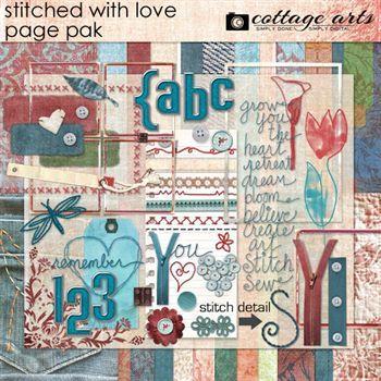 Stitched With Love Page Pak Digital Art - Digital Scrapbooking Kits