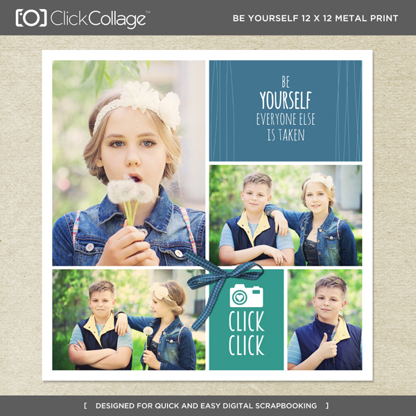 Be Yourself 12 X 12 Metal Print Digital Art - Digital Scrapbooking Kits