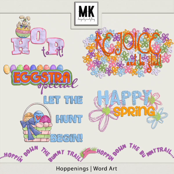 Hoppenings - Word Art Digital Art - Digital Scrapbooking Kits