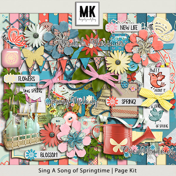 Sing A Song Of Springtime Page Kit Digital Art - Digital Scrapbooking Kits