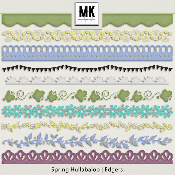 Spring Hullaballoo Edgers Digital Art - Digital Scrapbooking Kits