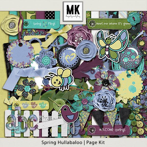 Spring Hullaballoo Page Kit Digital Art - Digital Scrapbooking Kits