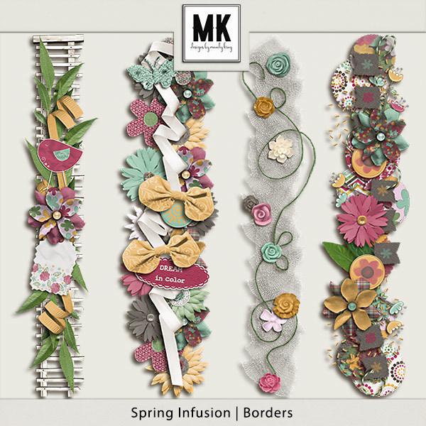 Spring Infusion Borders Digital Art - Digital Scrapbooking Kits