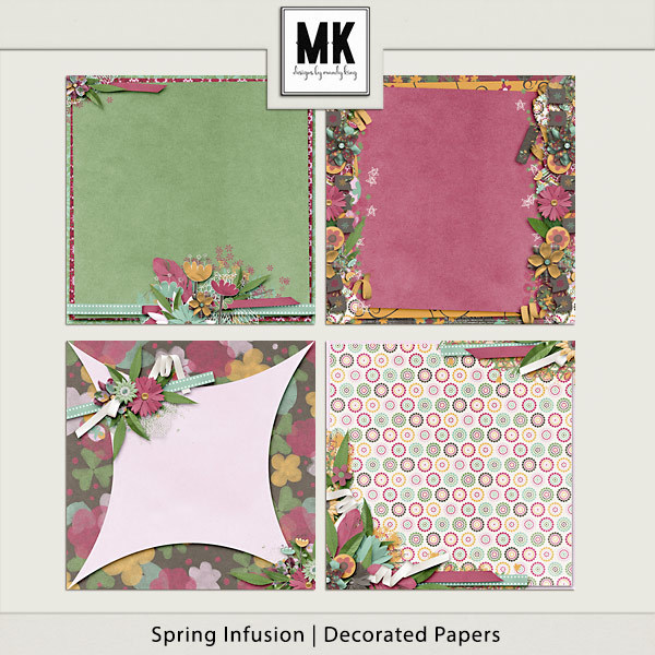 Spring Infusion Decorated Papers Digital Art - Digital Scrapbooking Kits