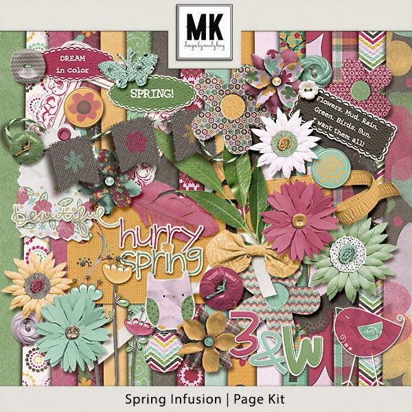 Spring Infusion Page Kit Digital Art - Digital Scrapbooking Kits