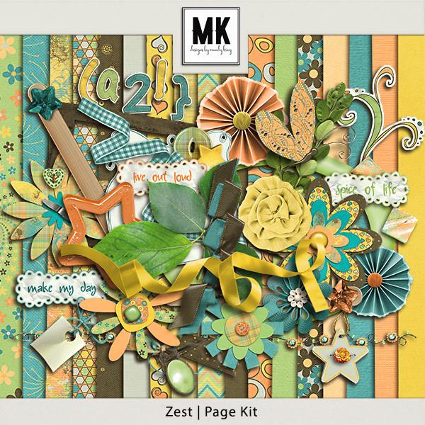 Zest Page Kit Digital Art - Digital Scrapbooking Kits