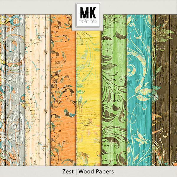 Zest Wood Papers Digital Art - Digital Scrapbooking Kits