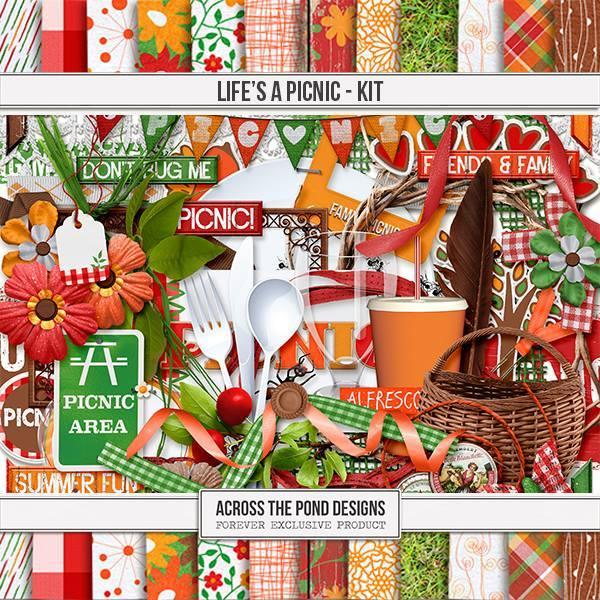 Life's A Picnic - Page Kit Digital Art - Digital Scrapbooking Kits