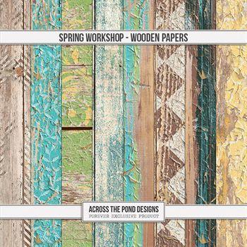 Spring Workshop - Wood Papers Digital Art - Digital Scrapbooking Kits