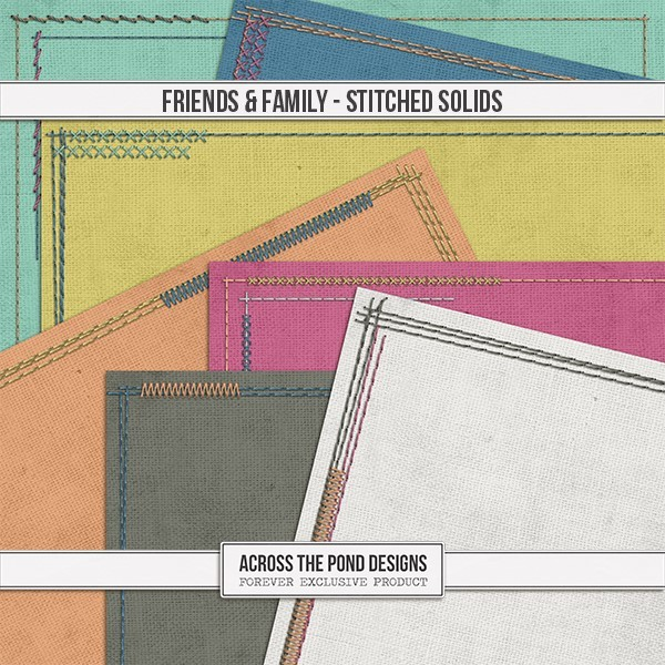 Friends & Family - Stitched Solid Papers Digital Art - Digital Scrapbooking Kits