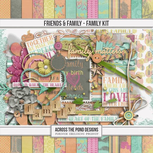Friends & Family - Family Page Kit Digital Art - Digital Scrapbooking Kits