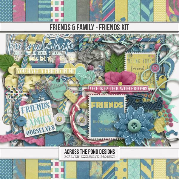 Friends & Family - Friends Page Kit Digital Art - Digital Scrapbooking Kits