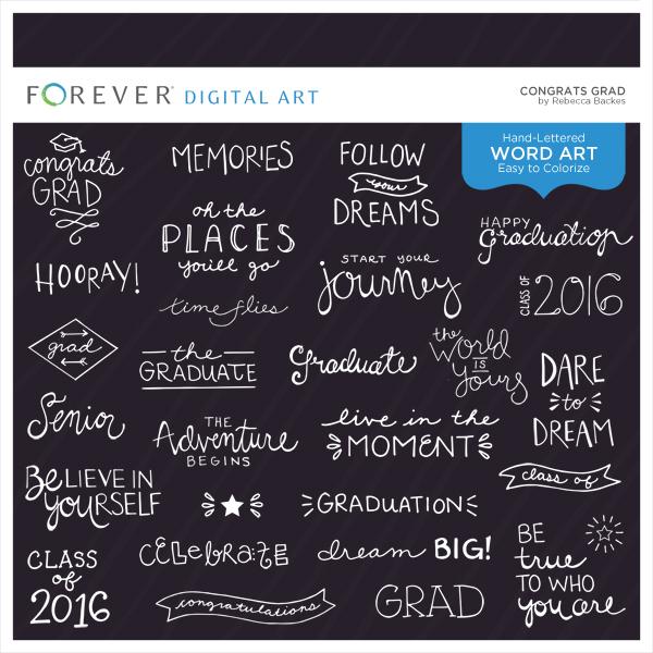 Congrats Grad Digital Art - Digital Scrapbooking Kits